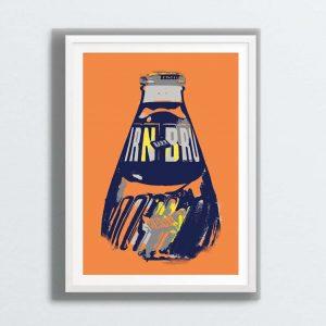 IRN-BRU wall art print by Gillian Kyle