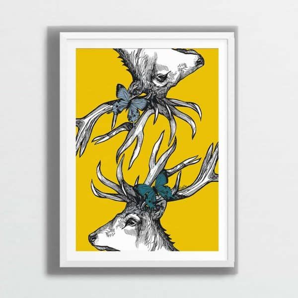 Scottish Stag print in mustard by Gillian Kyle