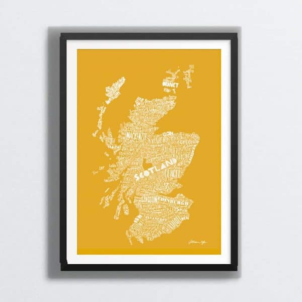 Mapped Out Scottish Map Print - golden