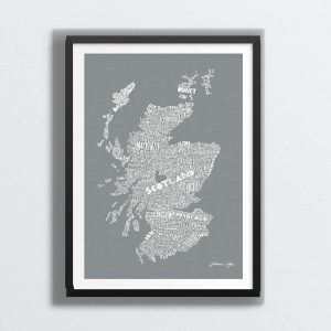 Mapped Out Scottish Map Print - modern grey