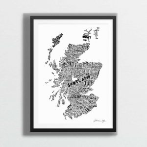 Mapped Out Scottish Map Print - monochrome