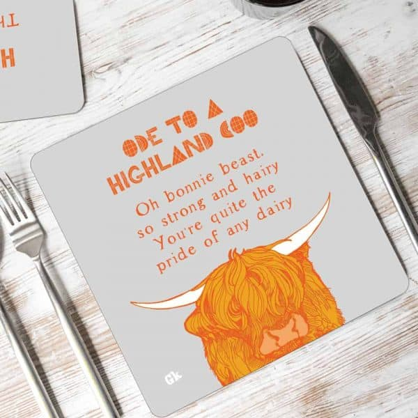Ode to a Highland cow placemats by Gillian Kyle