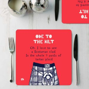Ode to the Kilt placemats by Gillian Kyle