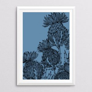 black-thistle-denim-fine-art-printBlack Thistle Print in denim by Gillian Kyle