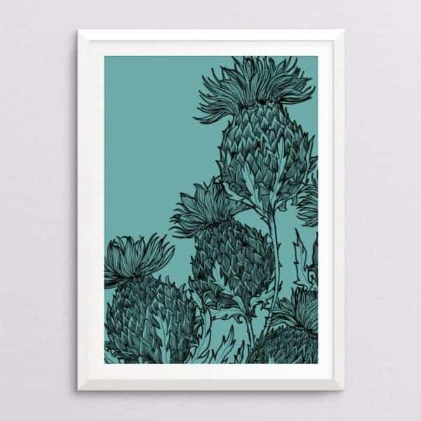 black-thistle-denim-fine-art-printBlack Thistle Print in jade by Gillian Kyle