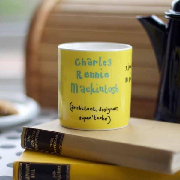 Charles Rennie Mackintosh China Mug by Gillian Kyle