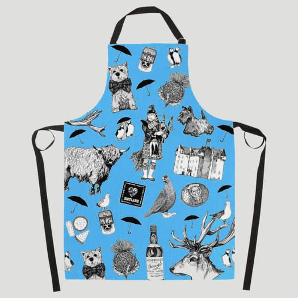 Love Scotland apron in blue by Gillian Kyle