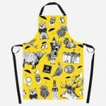 Love Scotland apron in yellow by Gillian Kyle