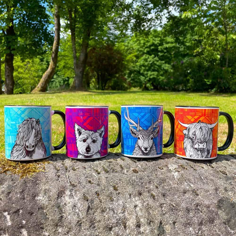 Tartan Animals mugs by Gillian Kyle