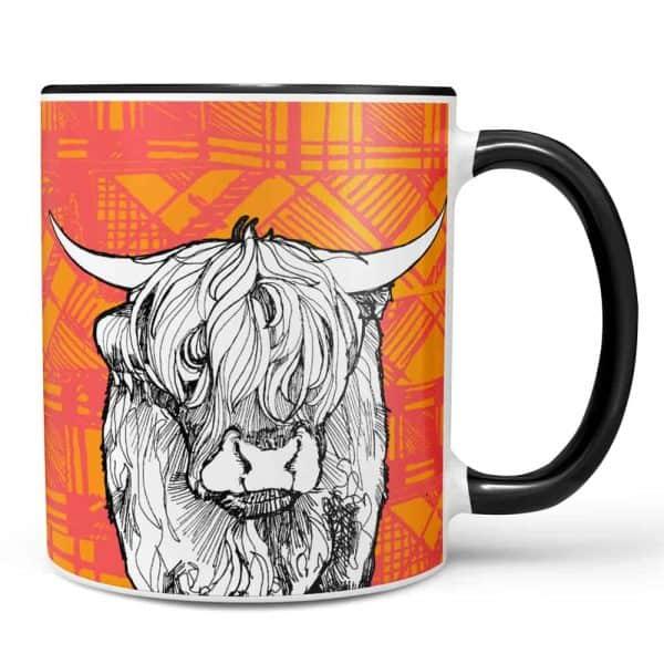 Tartan Coo Highland cow mug by Gillian Kyle