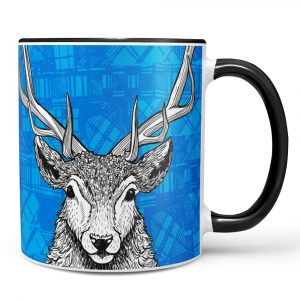 Tartan Stag mug by Gillian Kyle