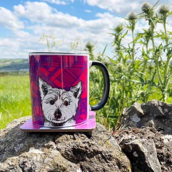 Tartan Westie mug by Gillian Kyle