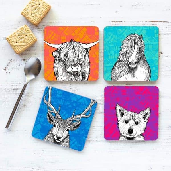 Tartan Animals coasters by Gillian Kyle