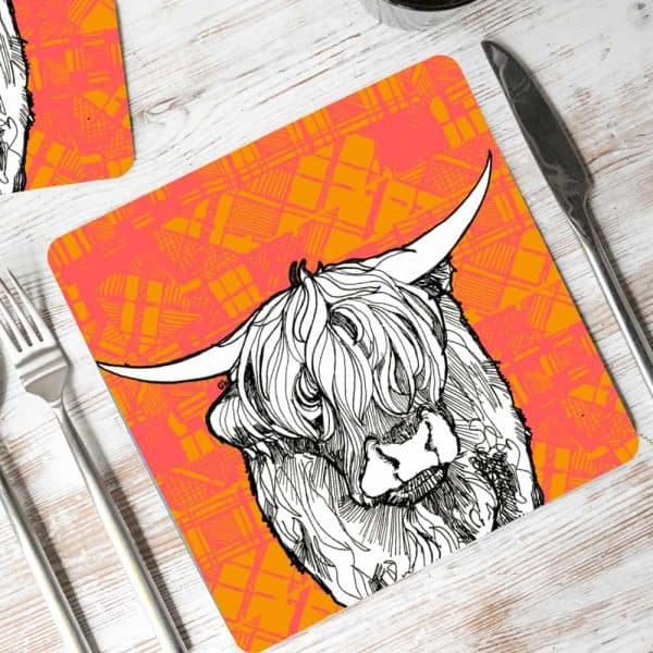 Tartan Highland Cow Placemats by Gillian Kyle
