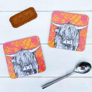 Tartan Highland Cow Coasters by Gillian Kyle