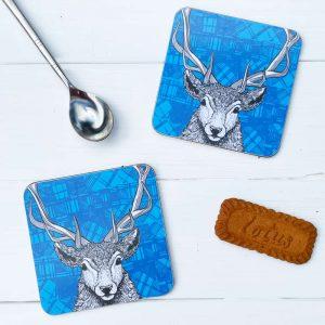 Tartan Stag Red Deer coasters by Gillian Kyle