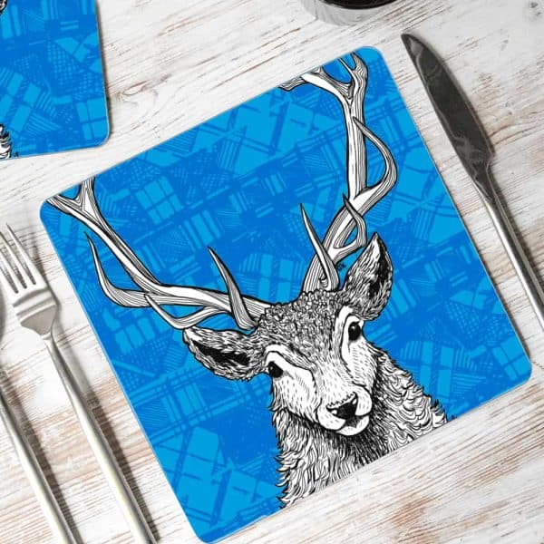 Tartan Stag Red Deer Placemats by Gillian Kyle