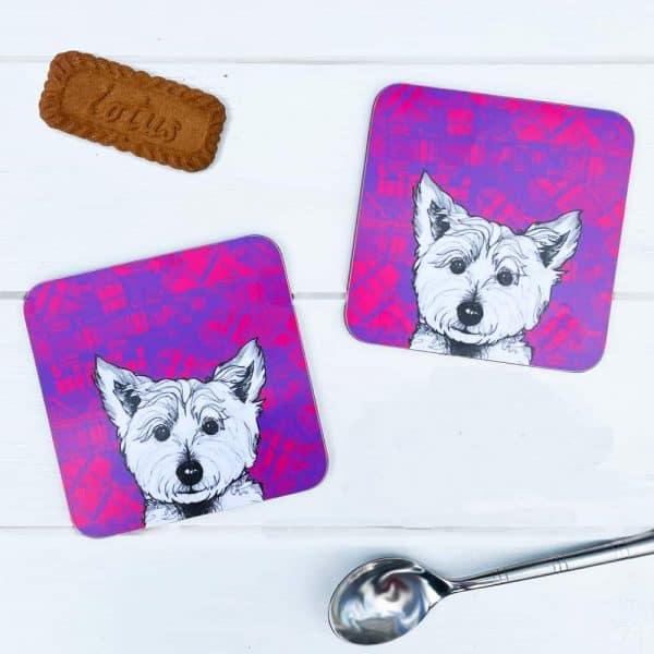 Tartan Westie West Highland terrier coasters by Gillian Kyle