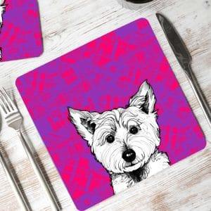 Tartan Westie West Highland terrier placemat by Gillian Kyle