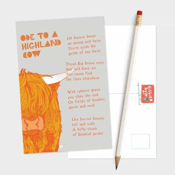 Ode to a Highland Cow postcard by Gillian Kyle