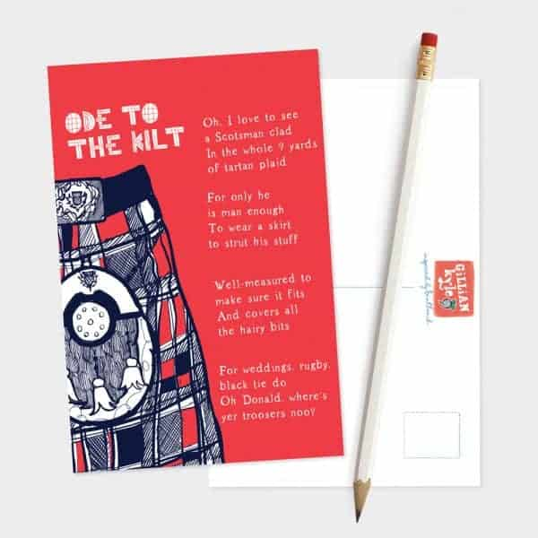Ode to the Kilt postcard by Gillian Kyle