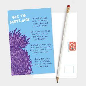 Ode to Scotland postcard by Gillian Kyle
