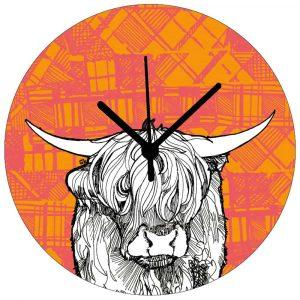 Tartan Highland cow Wall clock by Gillian Kyle