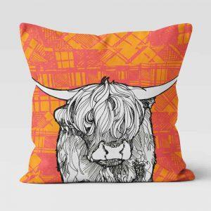 Tartan Highland Cow cushion by Gillian Kyle