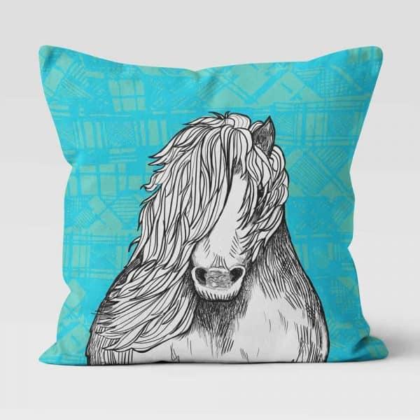 Tartan Pony Shetland pony cushion by Gillian Kyle