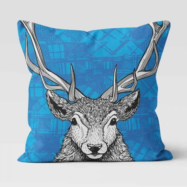 Tartan Stag Red Deer cushion by Gillian Kyle