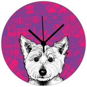 Tartan Westie Wall clock by Gillian Kyle
