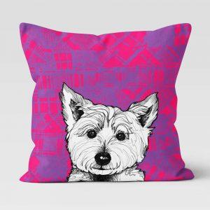 Tartan Westie West Highland Terrier cushion by Gillian Kyle