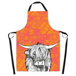 Tartan Highland Cow Apron by Gillian Kyle