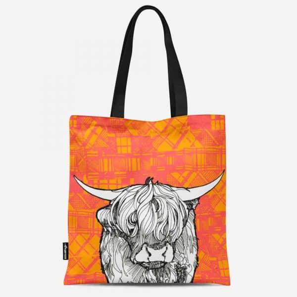 Tartan Highland Cow Canvas Tote Bag by Gillian Kyle