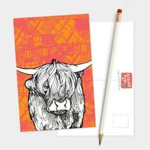 Tartan Cow Highland Cow postcard by Gillian Kyle