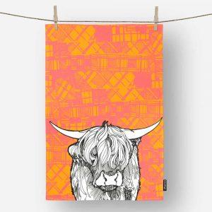 Tartan Highland Cow Tea Towel by Gillian Kyle