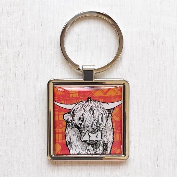 Tartan Cow Highland Cow keyring by Gillian Kyle