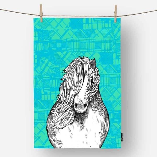 Tartan Pony Shetland pony tea towel by Gillian Kyle