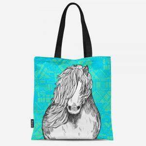Tartan Pony Shetland pony canvas tote bag by Gillian Kyle