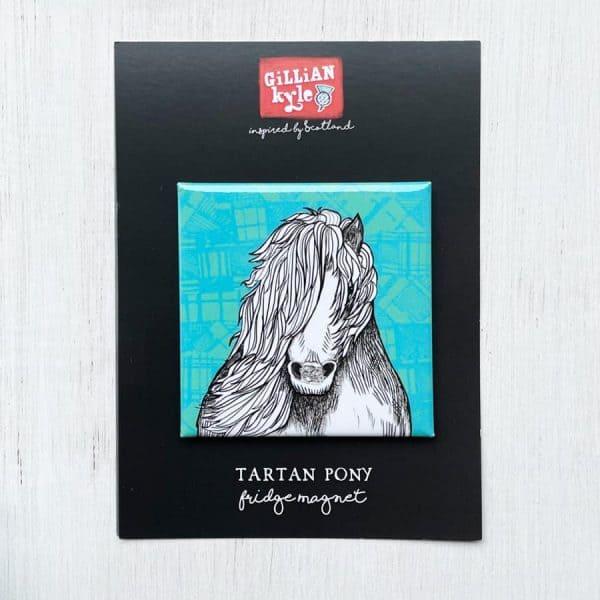 Tartan Shetland Pony Fridge Magnet