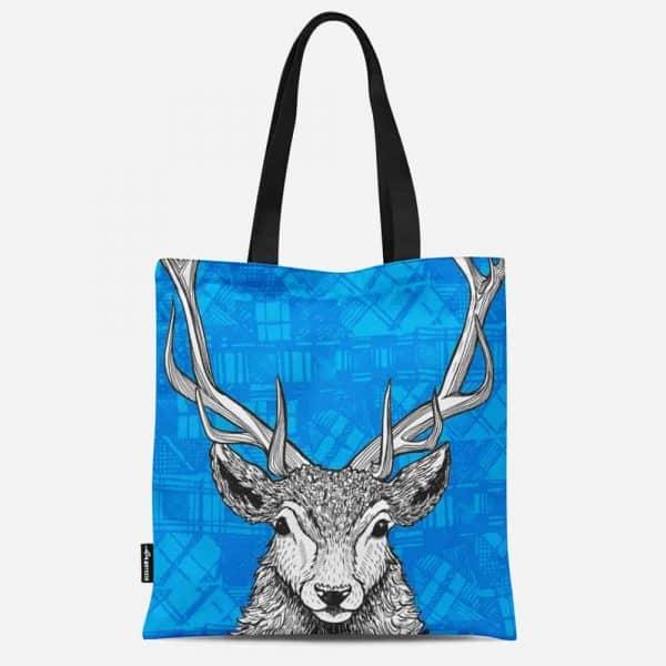 Tartan Stag Red Deer Canvas Tote Bag by Gillian Kyle