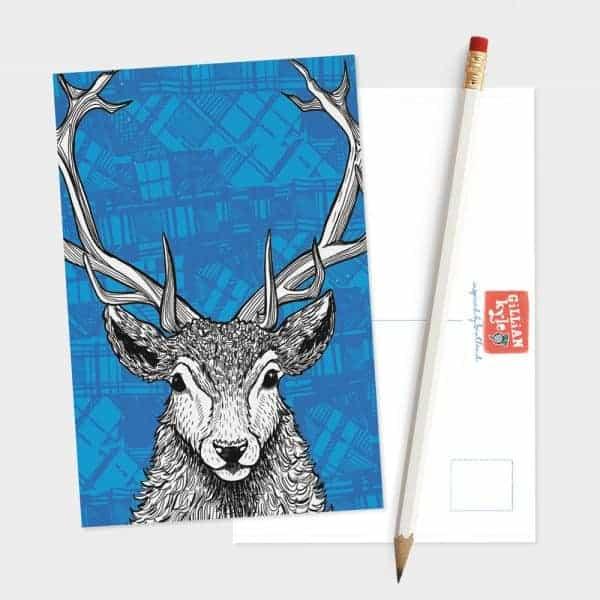 Tartan Stag Red Deer postcard by Gillian Kyle
