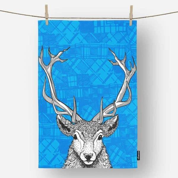 Tartan Stag Red Deer Canvas Tea Towel by Gillian Kyle