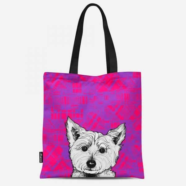 Tartan Westie West Highland terrier Canvas Tote Bag by Gillian Kyle