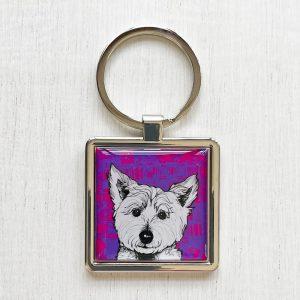 Tartan Westie West Highland Terrier keyring by Gillian Kyle
