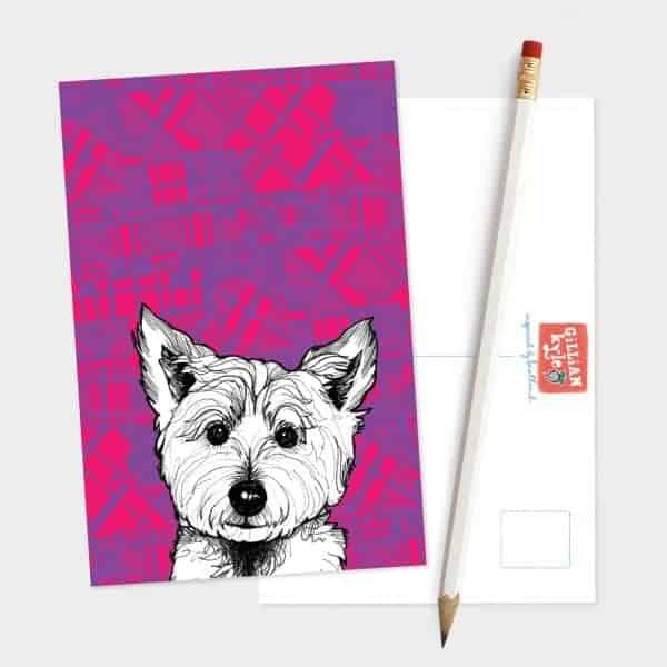 Tartan Westie West Highland Terrier postcard by Gillian Kyle