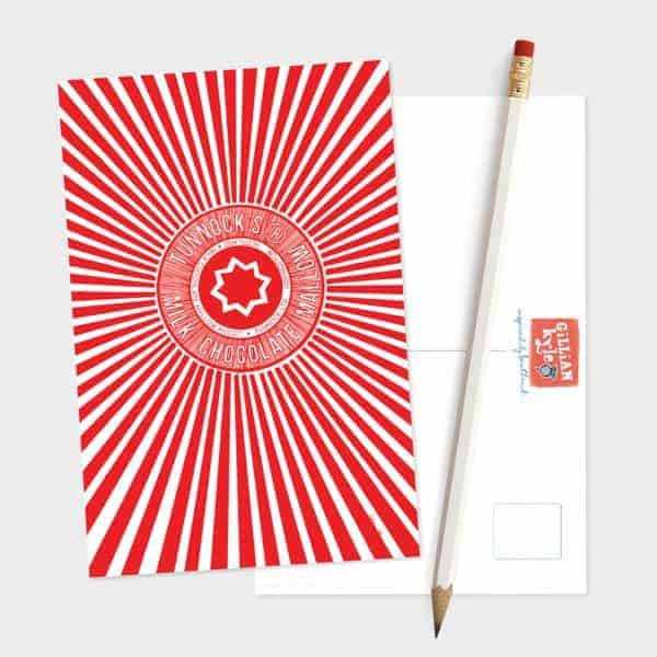 Tunnock's Tea Cake Wrapper postcard by Gillian Kyle