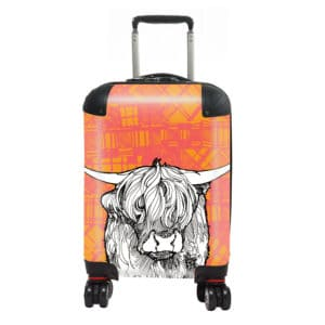 Tartan Cow Highland cow kids suitcase