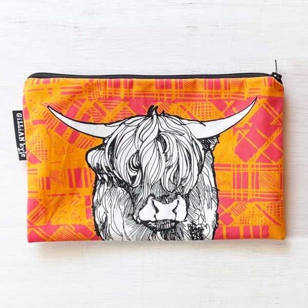 Highland Cow accessories pouch, pencil case, makeup bag by Gillian Kyle