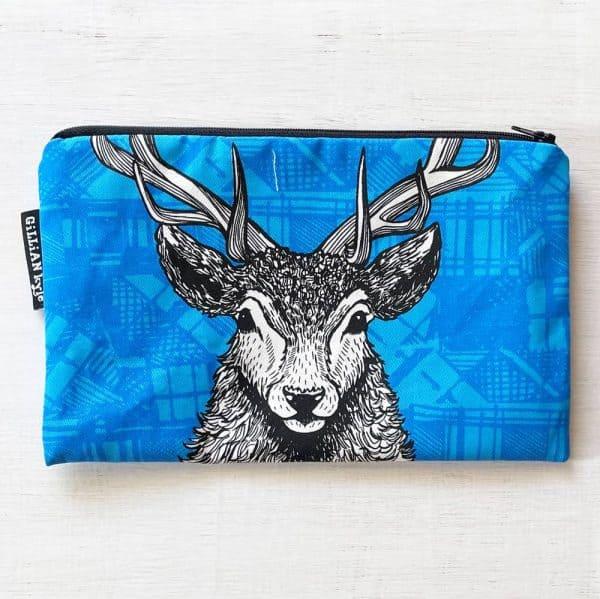Tartan Stag accessories pouch, pencil case, makeup bag by Gillian Kyle